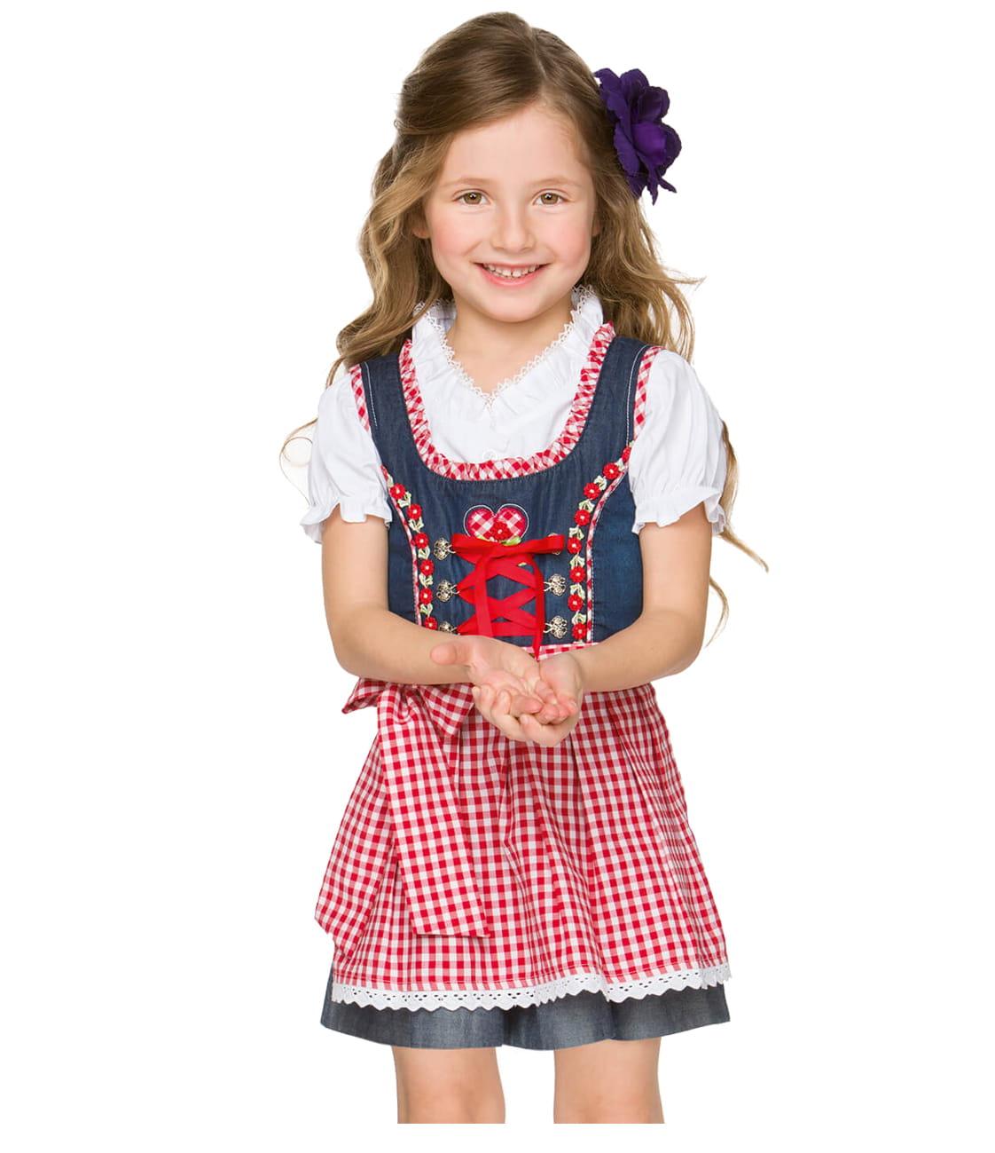 8a421f1510fb5 Kinder Dirndl BINE blau rot - Ronja Birk - bayerische Kleidung